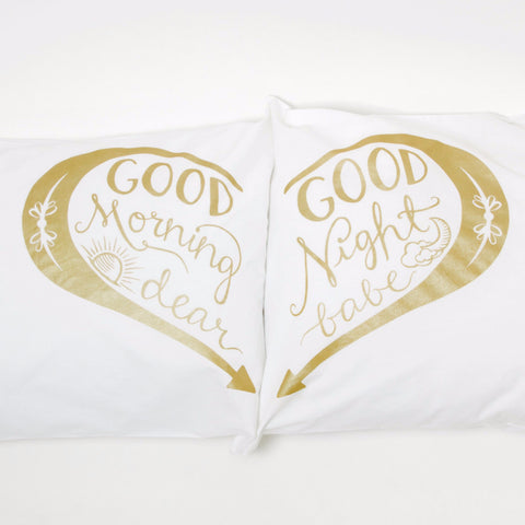 Good Morning & Good Night pillowcases - Gold
