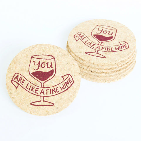 Fine Wine - 6 Cork Coaster