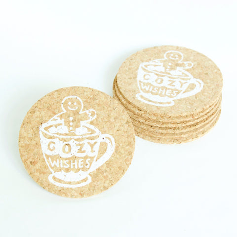 Cozy Wishes - 6 Cork Coasters