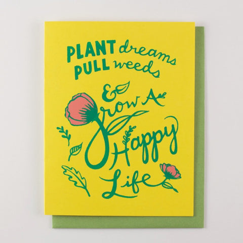 Grow A Happy Life - inspirational card