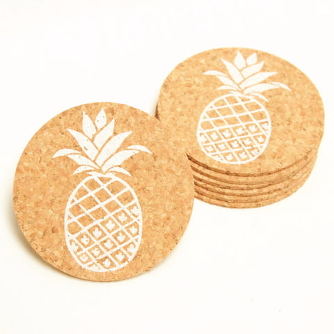 pineapple design on screen printed coasters