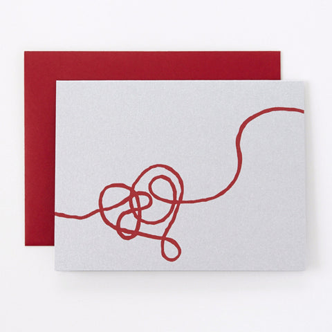 Red String on Silver- love card