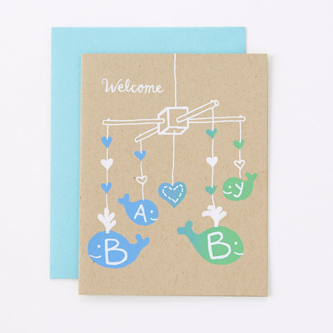 Welcome Baby - blue - baby card