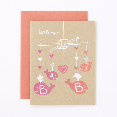 Welcome Baby - pink - baby card