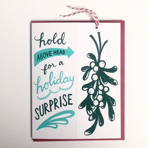 Mistletoe Surprise Aqua - ornament card