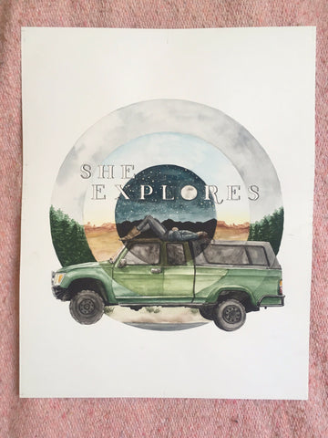 Original: She Explores Truck Watercolor & Pen