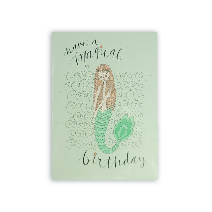 Mermaid magical birthday card