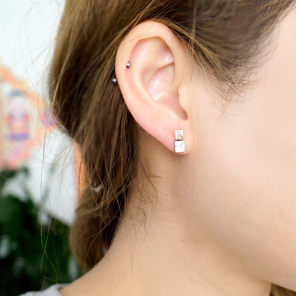 Stone bar earrings rosegold