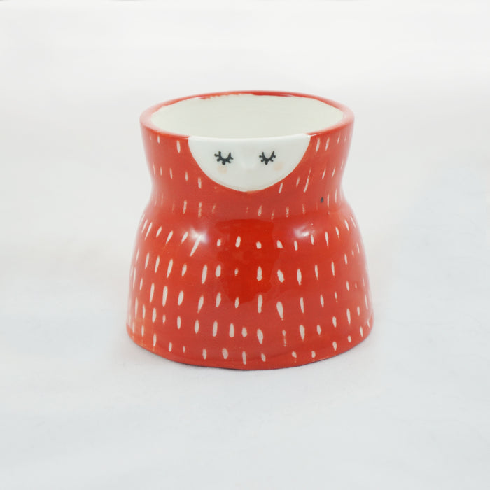 Red carved ceramic planter