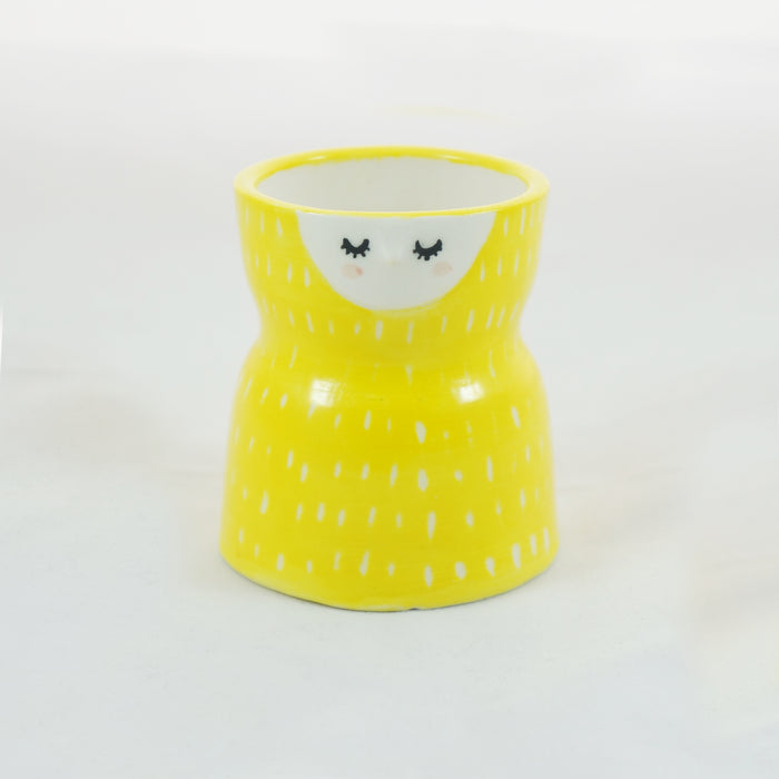 Yellow carved ceramic planter