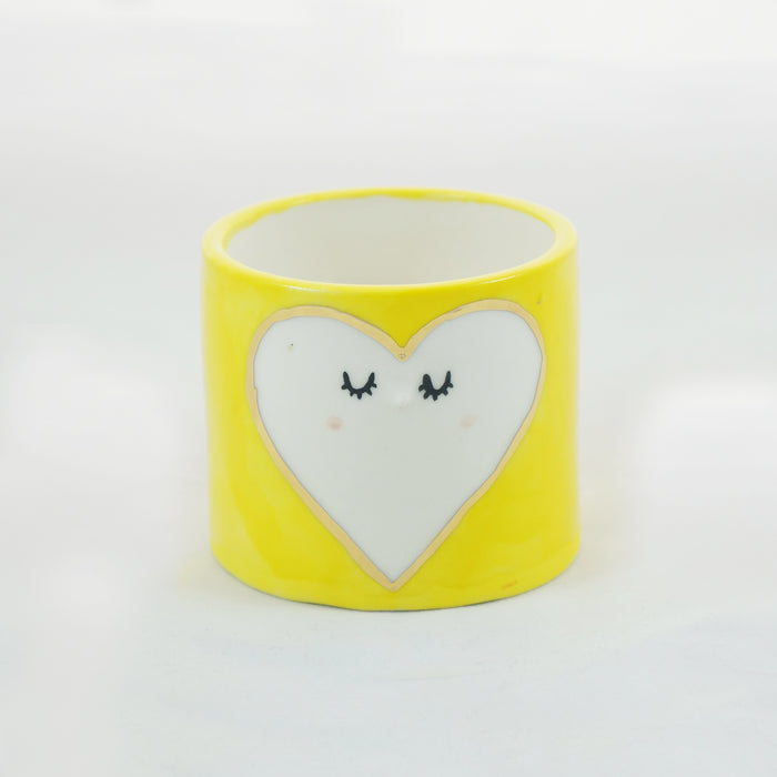 Yellow heart ceramic planter