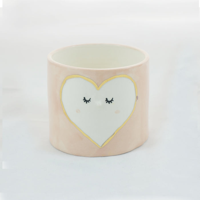 Pink heart ceramic planter