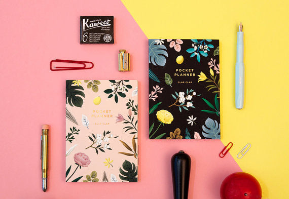 Botanical black pocket planner