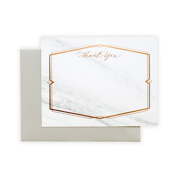 Marble & copper thank you card