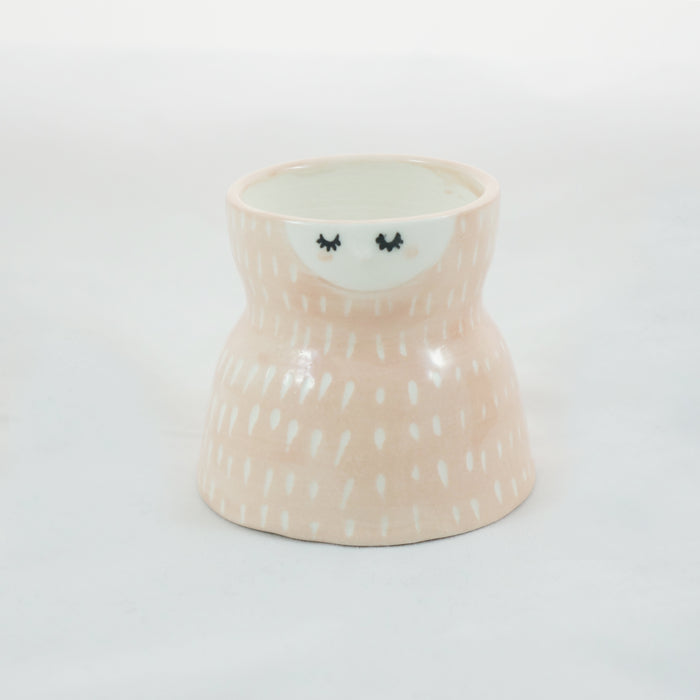 Pink carved ceramic planter