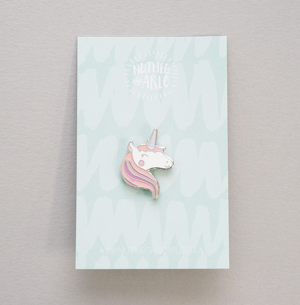 Pink hair unicorn pin
