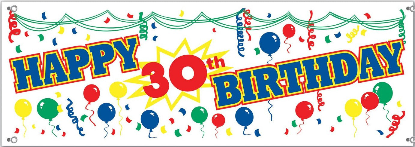 happy 30th birthday banner sign