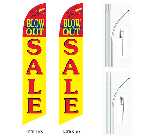 3 three BLOW OUT SALE yel//red//wh 15 Swooper #4 Feather Flags KIT