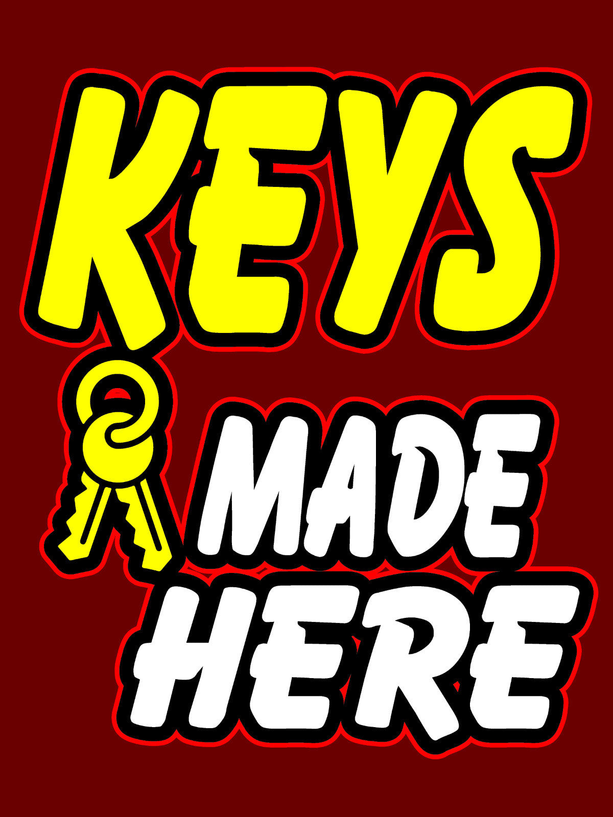 Where To Get Keys Made >> Keys Made Here Business Retail Display Sign 18 W X 24 H Full Color