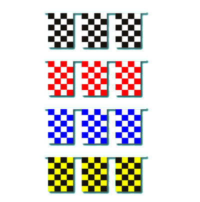 "CHECKERED RACE TRACK STARTER 9/""x12/"" PENNANTS STREAMERS"