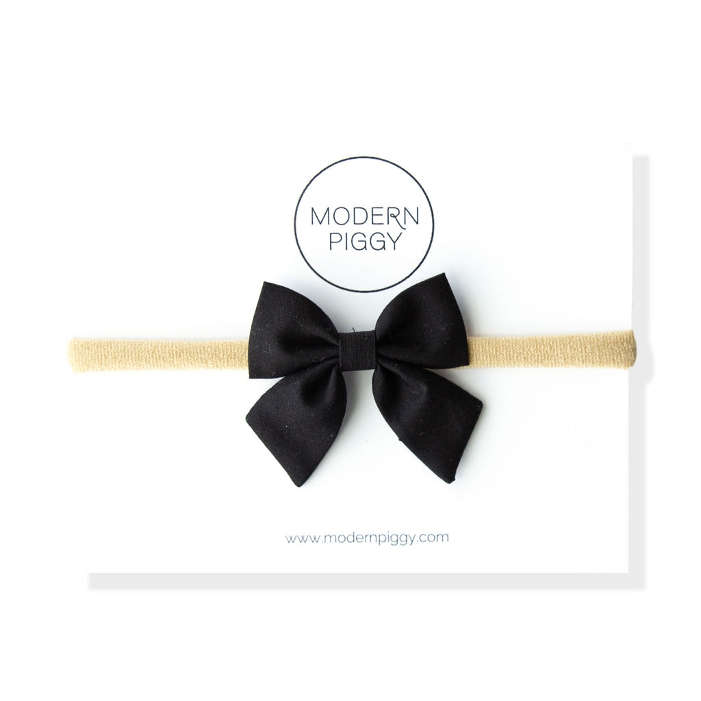 Black Textured | Mini Piggy Bow