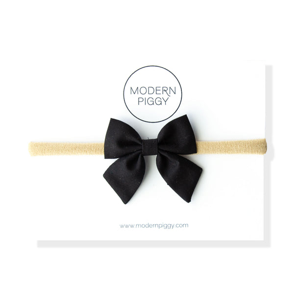 Jet Black | Mini Knot Bow