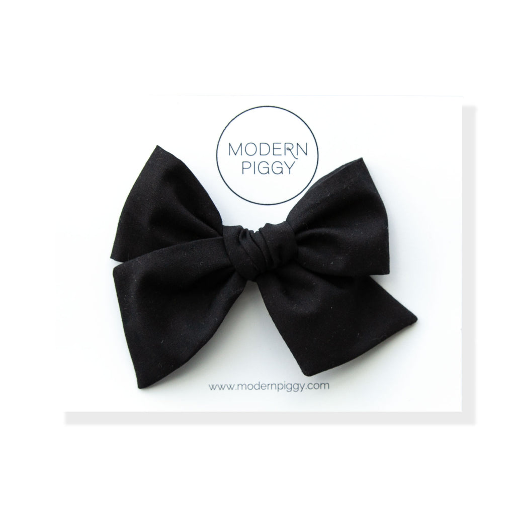Black Textured | Oversized Hand-tied Bow