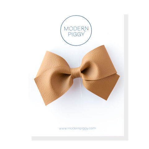 Camel | Leather Baby Bow (Headband, Clip or Elastic)