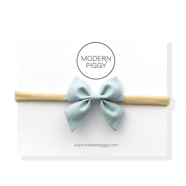 Faded Denim | Mini Piggy Bow