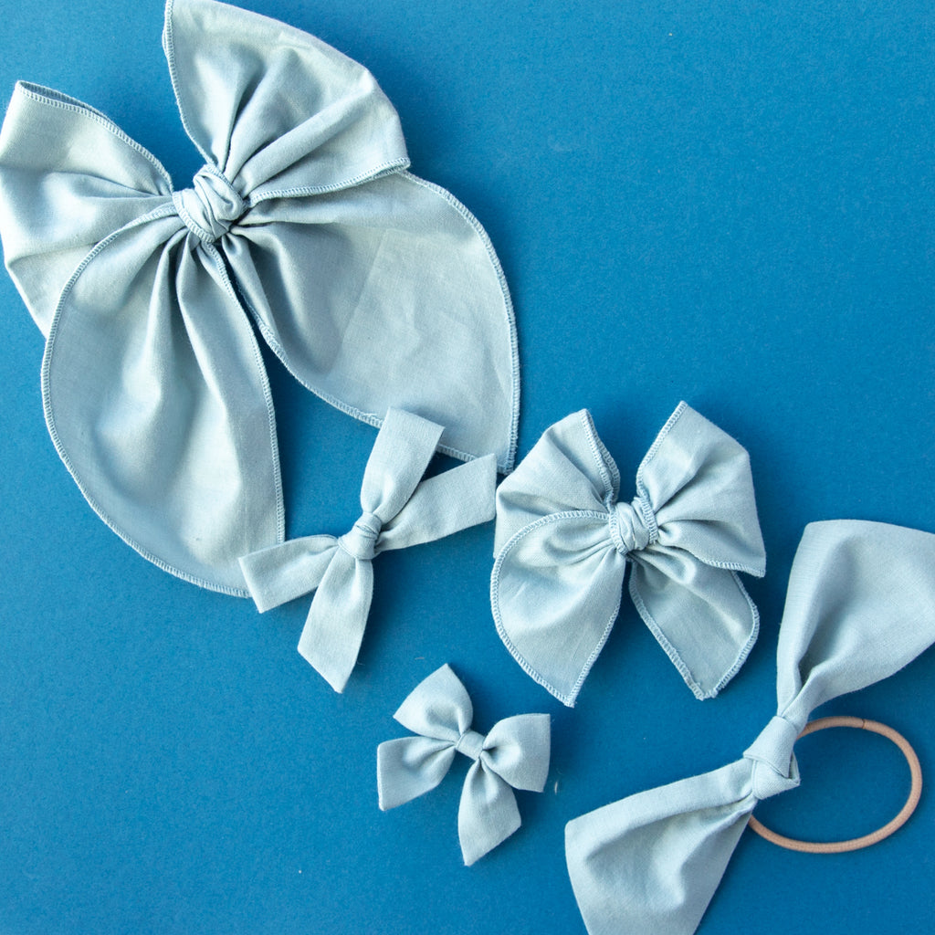 Faded Denim | Pigtail Set - Hand-tied Bow