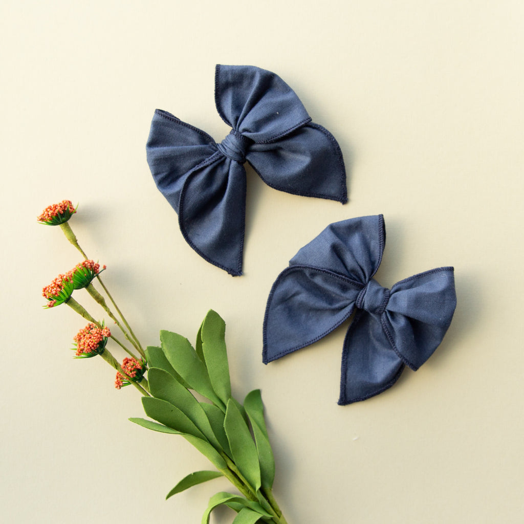 Blueberry | Pigtail Set - Petite Party Bow