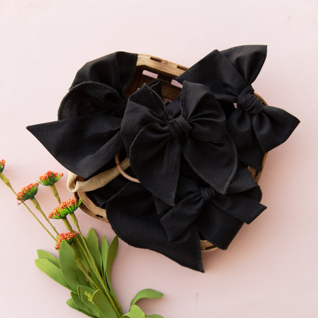 Black | Pigtail Set - Hand-tied Bow