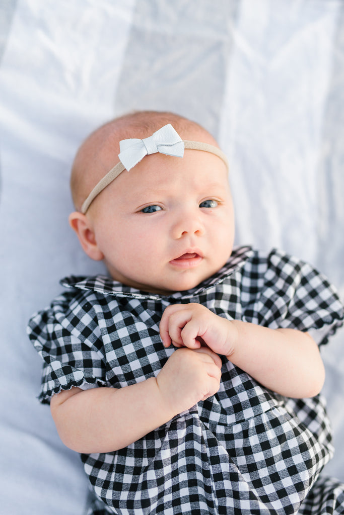 White | Leather Baby Bow