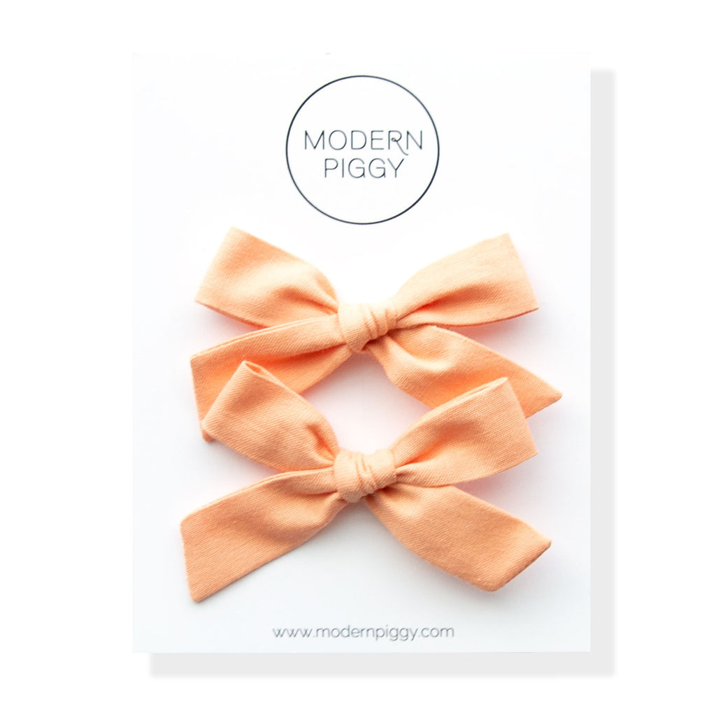 Peach Pearl | Pigtail Set - Hand-tied Bow