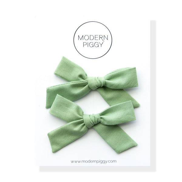 Seafoam Gingham | Pigtail Set - Hand-tied Bow