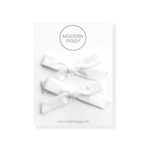Woven White | Pigtail Set - Hand-tied Bow