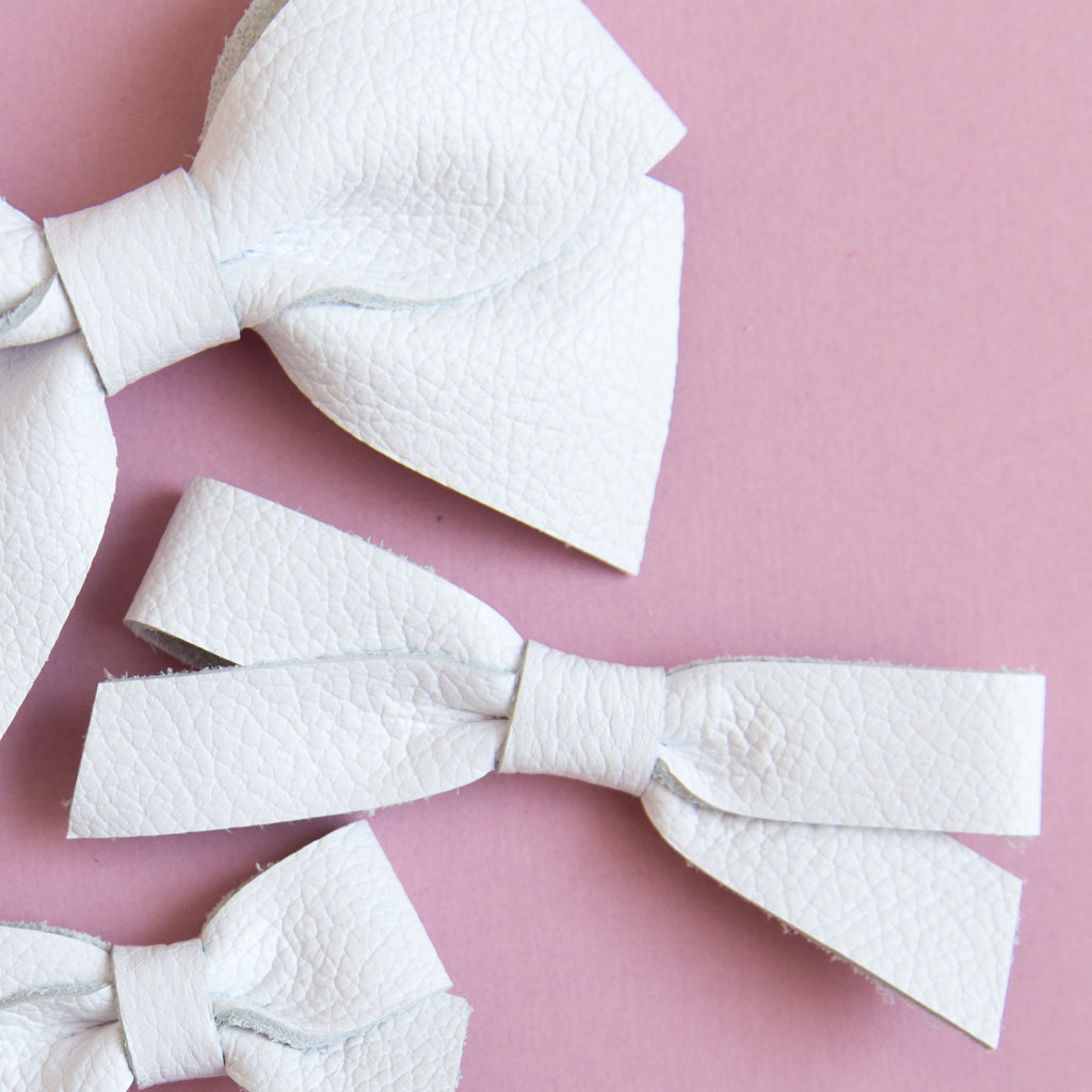 White | Big Leather Bow