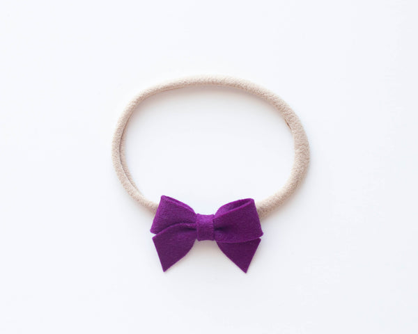 Berry | Felt Baby Bow (Headband, Clip or Elastic)