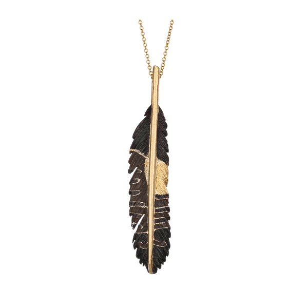 Pheasant Feather Necklace, Shakudo