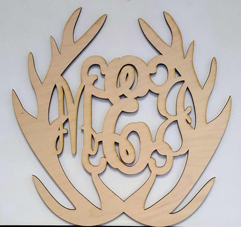 WA 1712 Antlers Wooden Monogram Wall Art