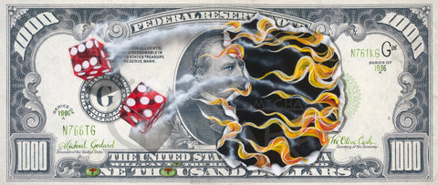 "Michael Godard ""$1000 We Olive Cash"" Limited Edition Canvas Giclee"