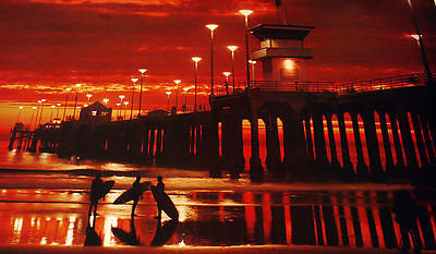 n/a HUNTINGTON BEACH HIGH QUALITY OLD PIER COLOR  PHOTO PRINT SUNSET (BOB HUFFMAN) Photographs