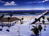 "HUNTINGTON BEACH PEIR ( DAN  L. JOHNSON) HIGH QUALITY  DRAWING PRINT 16"" by 20"" - Art Center Gallery"