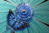 "1 RARE SIGNED Michael Godard ORIGINAL BUTTERFLY ""Colored Flowers""  MASTERPIECE - Art Center Gallery"
