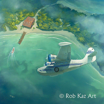 "Rob Kaz-""Watering Hole"" Giclee Canvas 14"" by 14"" Open edition - Art Center Gallery"