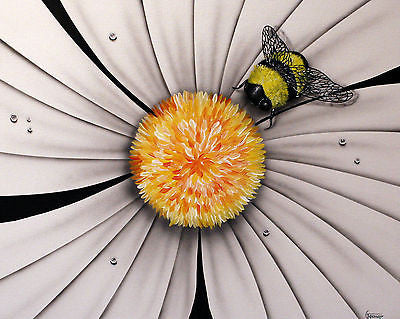"Michael Godard -""White flower w/ Bumble Bee"" Original Painting,  size 24"" by 30"" - Art Center Gallery"