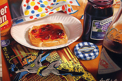 "Doug Bloodworth Doug Bloodworth - ""Batman Peanut  Butter "" Giclee canvas  limited  18"" by  24"" Prints"