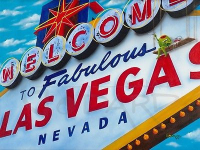 "Michael Godard - ""Welcome to Vegas"" Limited Signed 250 Canvas Giclee 17.5""By 22"" - Art Center Gallery"