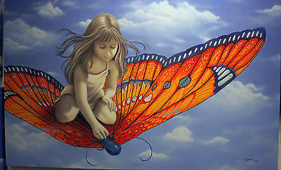 "Michael Godard - ""Butterfly "" Limited Edition Canvas Giclee - 27"" by 40"" - Art Center Gallery"