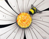 "Michael Godard ""Black and White Flower - Bumble Bee"" Limited Edition Canvas Giclee"
